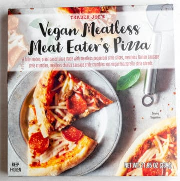 An unopened box of Trader Joe's Vegan Meatless Meat Eater's Pizza