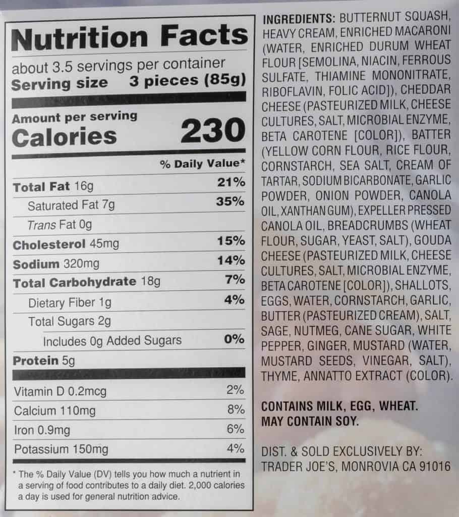 Nutritional information, calories, and ingredients in Trader Joe's Butternut Squash Mac and Cheese Bites