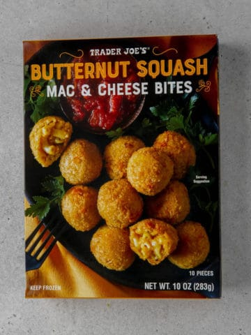 An unopened box of Trader Joe's Butternut Squash Mac and Cheese Bites