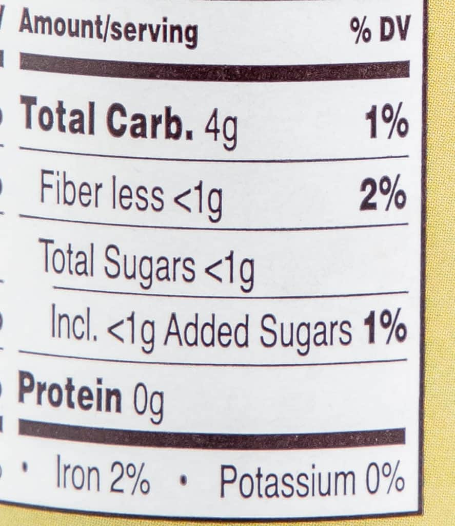 The rest of the nutritional facts for Trader Joe's Garlic Achaar Sauce