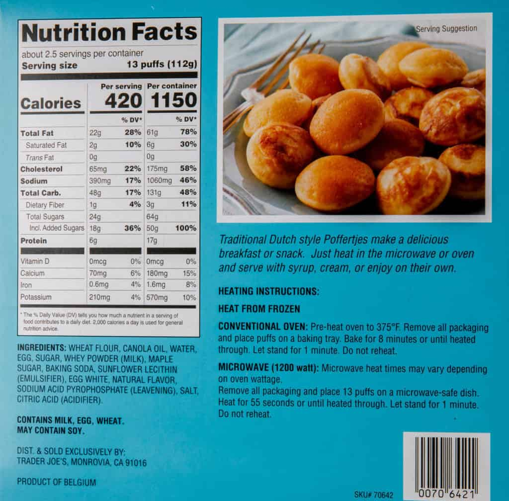 Nutritional information, calories, ingredients, and heating directions for Trader Joe's Maple Poffertjes Mini Pancakes