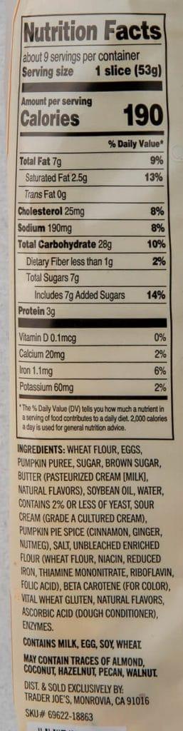 Trader Joe's Pumpkin Brioche Twist ingredients and calories