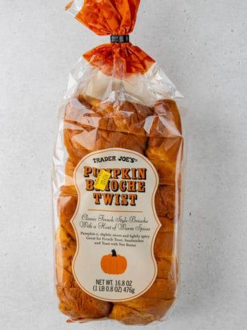 An unopened bag of Trader Joe's Pumpkin Brioche Twist
