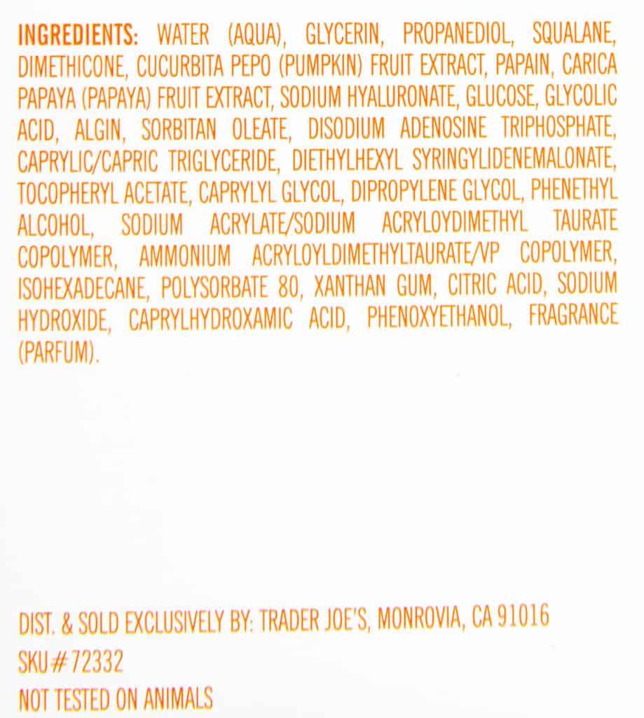 Ingredients in Trader Joe's Pumpkin Overnight Face Mask