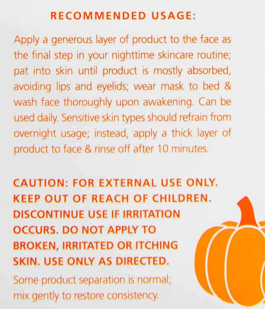 Directions for using Trader Joe's Pumpkin Overnight Face Mask