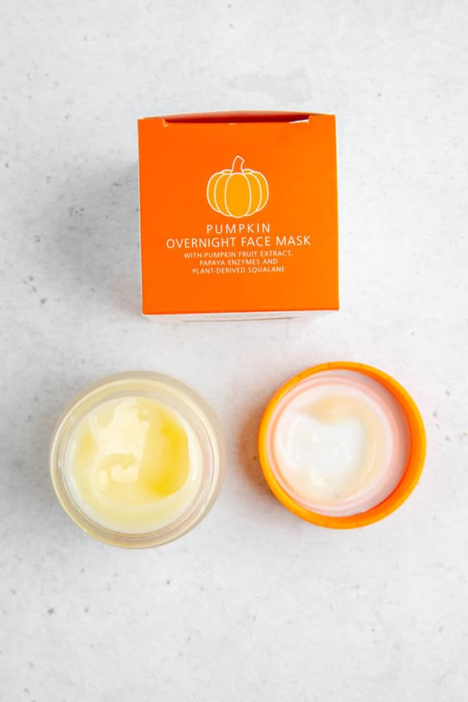 An opened package and jar of Trader Joe's Pumpkin Overnight Face Mask