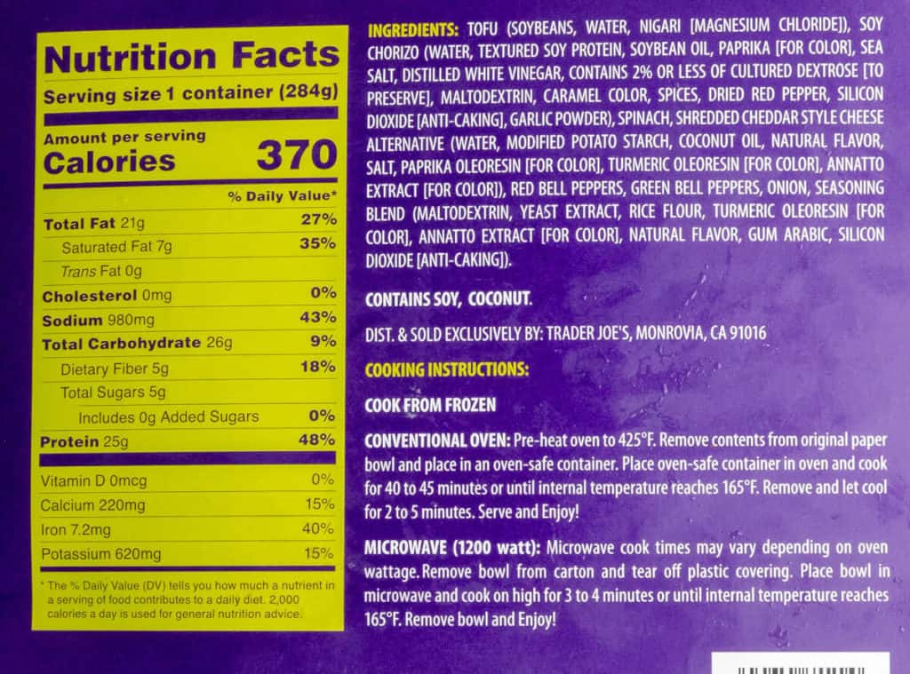 Nutritional information, ingredients and cooking directions for Trader Joe's Tofu Scramble with Soy Chorizo